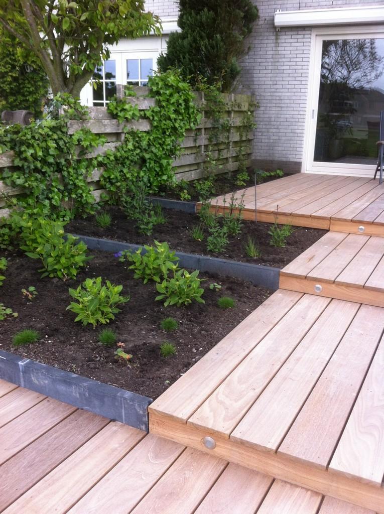 Idee kleine tuin met niveauverschil foto : Terrassentuin met dakbomen Assendelft   MdJ tuinen